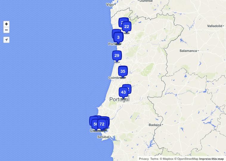 Road trip in Portugal, places, checked in, foursquare