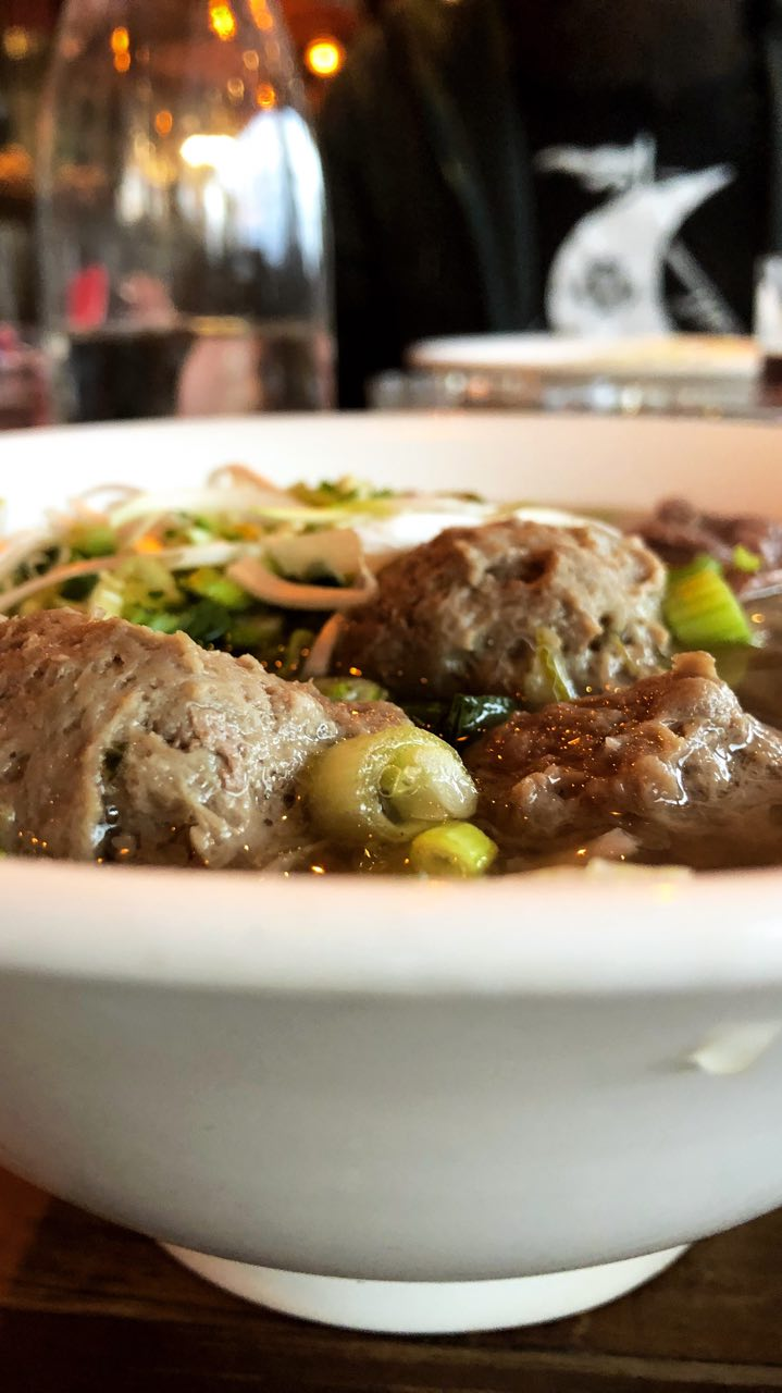 Phở combo: the Vietnamese noodle soup with steak, brisket and meatballs