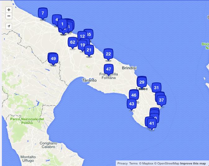 foursquare places I checked in Puglia road trip